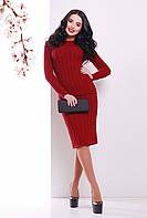 Теплый вязаный женский костюм-двойка в косичку (джемпер и юбка) бордовый