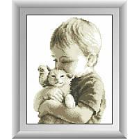 """Набор алмазной живописи """"Малыш с котенком"""""""