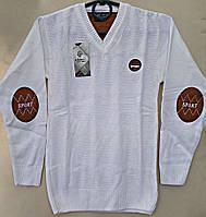 Классный теплый свитер на мальчика,состав: 30% шерсти, размеры:10-14 лет, цвет белый с рыжими вставочками