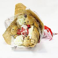 Букет из игрушек Мишки коричневые с рафаэлло Крафт