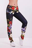 Яркие женские теплые лосины с начесом в цветочный принт Джинсы-цветы леггинсы ДН