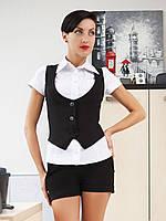 Женская стильная черная жилетка на три пуговицы с глубоким декольте Жилет №2