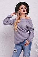 Женский мягкий вязаный светло-серый свитер-реглан из ангоры кофта Нежана д/р