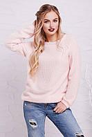 Женский мягкий вязаный пудровый свитер-реглан из ангоры кофта Нежана д/р
