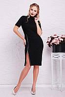 Эффектное черное облегающее платье из ангоры с воротником под горло и молнией спереди Зафира к/р