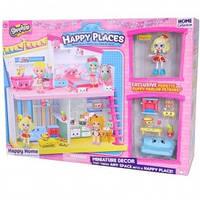 Игровой набор НAPPY PLACES S1 – СЧАСТЛИВЫЙ ДОМ (дом, кукла, 9 петкинсов), 5+
