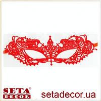 Маска красная ажурная Незнакомка карнавальная с лентами