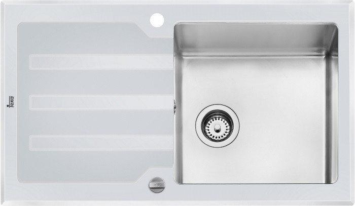Мойка кухонная TEKA LUX 1B 1D 86 REV белое стекло полированная