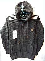 Стильна тепла кофта на хлопчика,склад: акрил, розміри:11-16 років, колір темно-сірий
