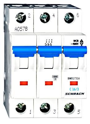 Автоматический выключатель BM 6кА 3P 16А х-ка B 40 ° С Schrack