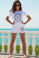 Женский белый летний костюм шортами Хром, фото 1