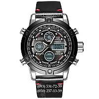 Армейские часы AMST 3022 Silver-Black Smooth Wristband, кварцевые, противоударные, армейские часы АМСТ