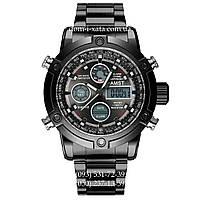 Армейские часы AMST 3022 Metall All Black, кварцевые, противоударные, армейские часы АМСТ