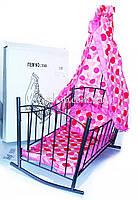 Арт.9349 Кровать для кукол металлическая с балдахином
