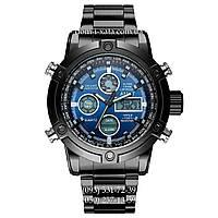 Армейские часы AMST 3022 Metall Black-Blue, кварцевые, противоударные, армейские часы АМСТ