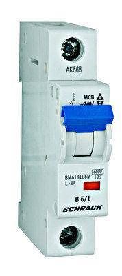 Автоматический выключатель BM 6кА 1P 6А х-ка C 40 ° С Schrack