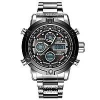 Армейские часы AMST 3022 Metall Silver-Black, кварцевые, противоударные, армейские часы АМСТ