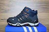 Зимние мужские кроссовки Adidas Fastr синие с оранжевым 3131