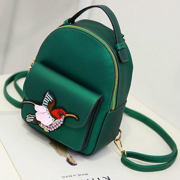 Модный мини рюкзак с птичкой