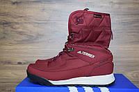Зимние женские сапоги-дутики Adidas Terrex 2 бордовые 3132