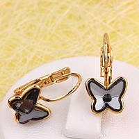 R2-4535 - Позолоченные серьги с кристаллами Swarovski Butterfly Black Diamond  (серо-чёрный)