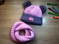 Детский комплект -шапка с ушками и хомут на возраст 3-5 лет, в расцветках