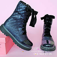 Кожаная зимняя обувь на девочку с бархатными шнурками СИНИЕ тм Олтея р.29,30,31,32,33