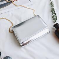 Стильная  женская мини сумка клатч лаковая цвет серебро
