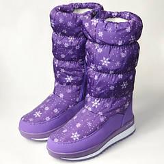 Подростковые зимние дутики, сапоги для девочки фиолетовые снежинки 31р.-36р. 3679