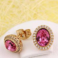 008-4538 - Позолоченные серьги с кристаллами Swarovski Oval Rose (розовый) и прозрачными фианитами