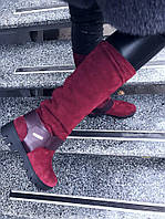 Стильные зимние сапоги. Нат.замш + кожа, внутри мех (набивная шерсть). Высота 40см, каблук 4см,спереди 2см. Об