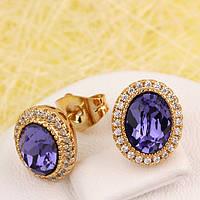 R2-4539 - Позолоченные серьги с кристаллами Swarovski Oval Purple Velvet и прозрачными фианитами