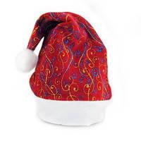 Колпак Санта Клауса с рисунком красный голубой.