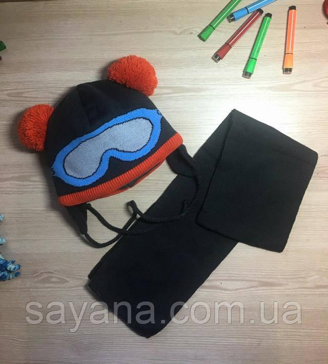 детская шапка с шарфом