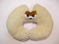 Подушка-подкова из овчины теплая кошачья морда