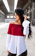 Блуза с открытыми плечами бордовая