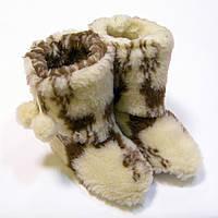 Комнатные сапожки-тапочки из овчины женские с оленями