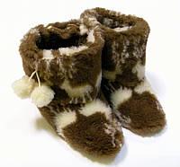 Комнатные сапожки с оленями из овчины женские