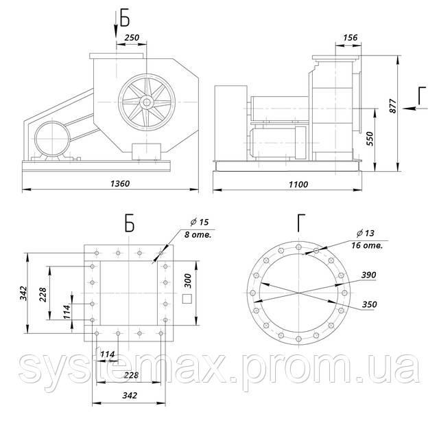 ВЦП 6-45-5 (ВРП 120-45 №5) габаритные и установочные размеры
