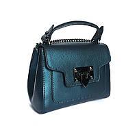 Маленькая сумочка, кожа, Италия, синяя металлик