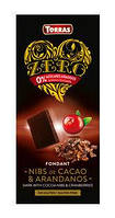 Черный шоколад с КЛЮКВОЙ и какао-бобами, без сахара, Torras
