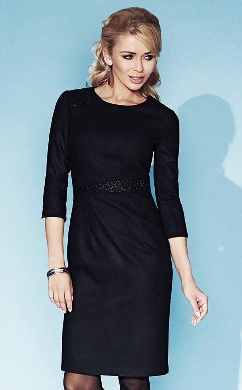 7474119878f Женское теплое платье черного цвета Adrianna Zaps