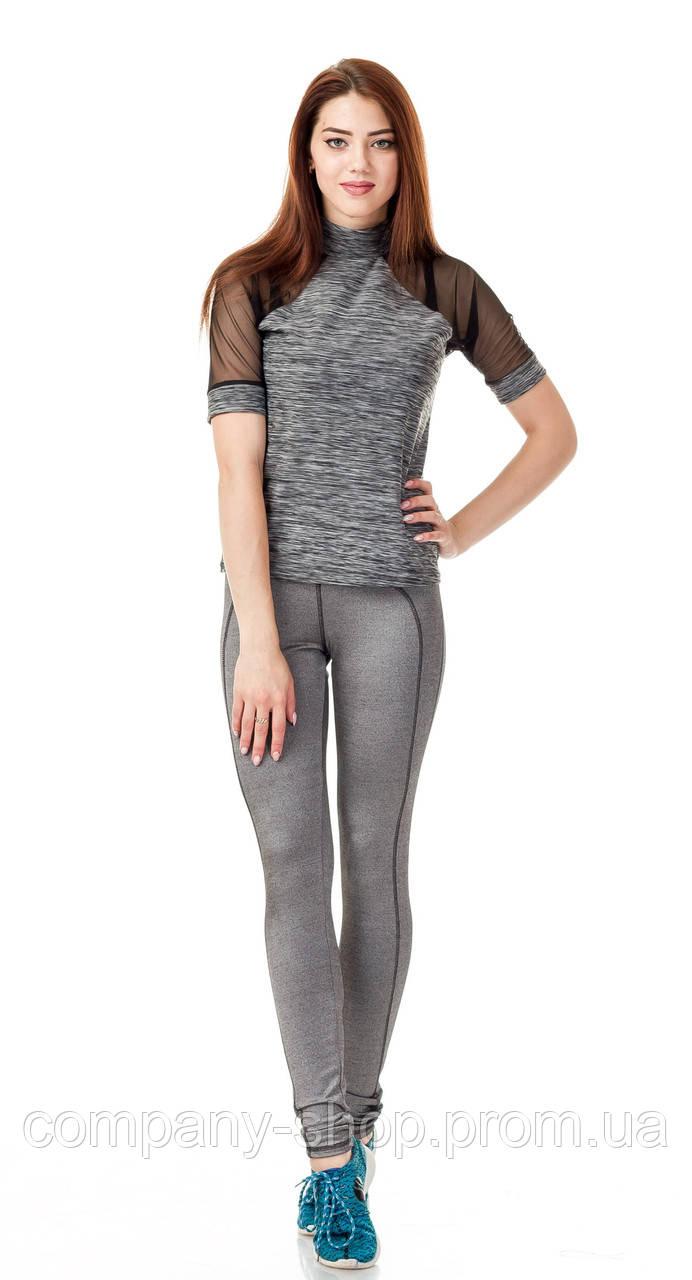 Спортивная женская футболка с сеткой на рукавах. Модель К083_пунтола.