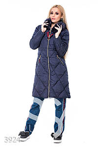 Ledi M Женская длинная куртка IS 3924_синий Леди М