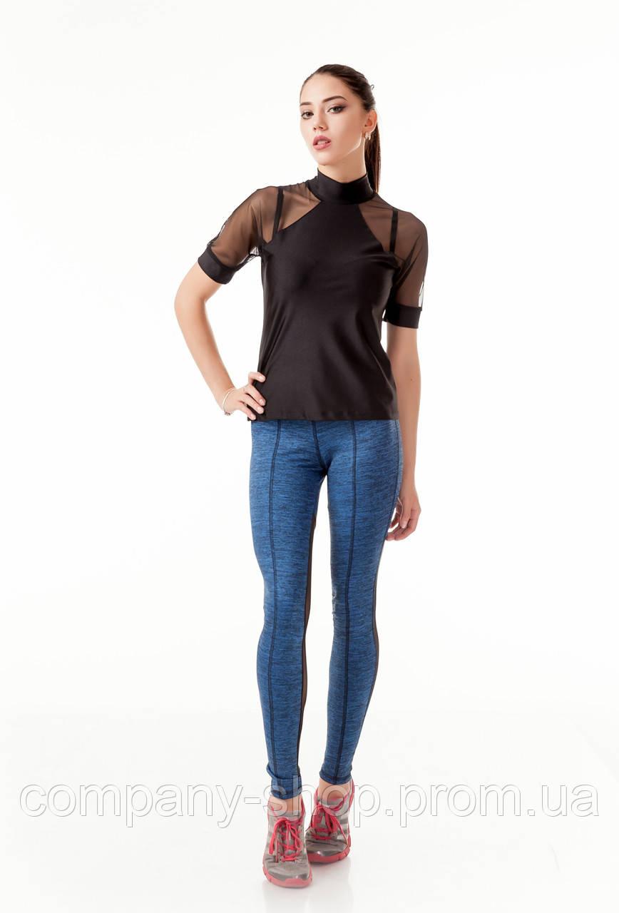 Спортивная женская футболка с сеткой на рукавах. Модель К083_бифлекс.