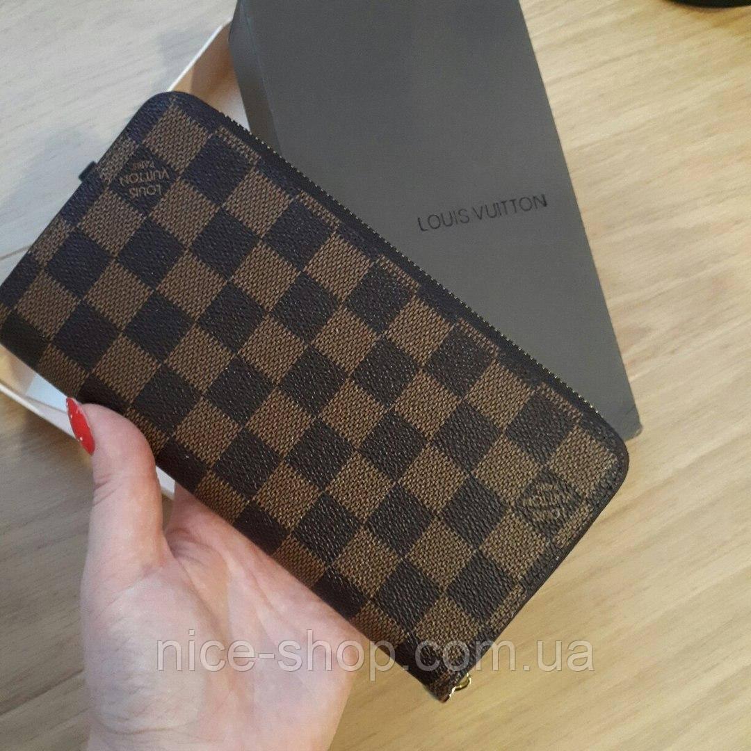 Кошелек Louis Vuitton Люкс коричневый в клетку, на молнии, с коробкой