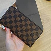 Кошелек Louis Vuitton Люкс коричневый в клетку, на молнии, с коробкой, фото 1