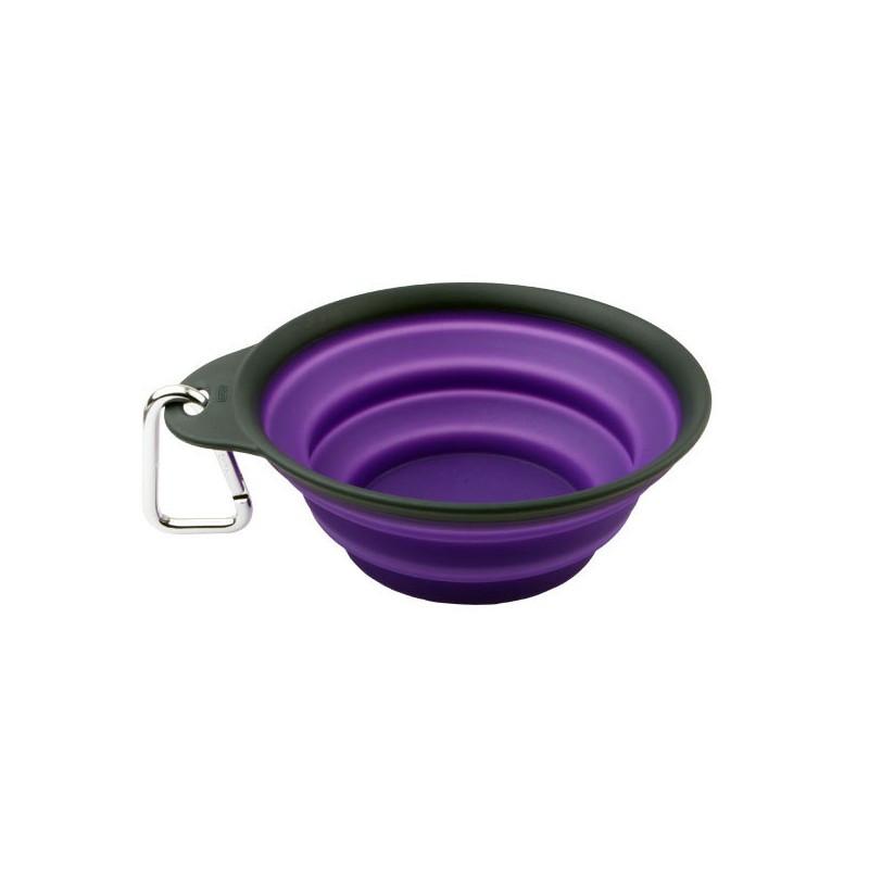 Dexas Travel Cup, 480 мл - дорожная складная миска с карабином для собак (фиолетовый)