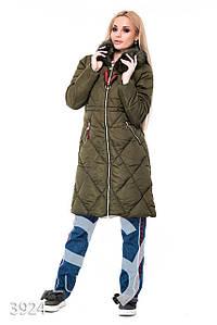 Ledi M Женская длинная куртка IS 3924 хаки Леди М