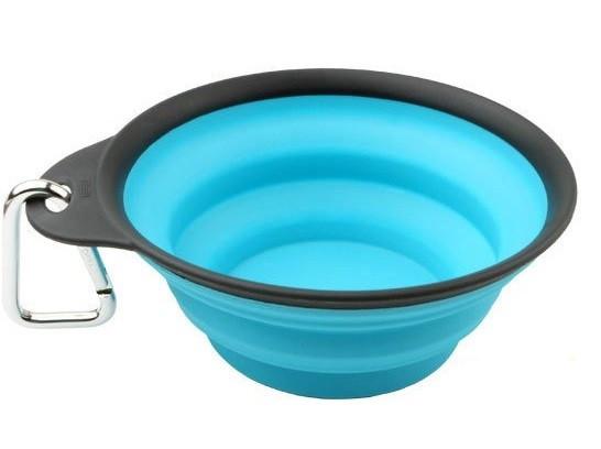 Dexas Travel Cup, 240 мл - дорожная складная миска с карабином для собак и кошек (голубой)